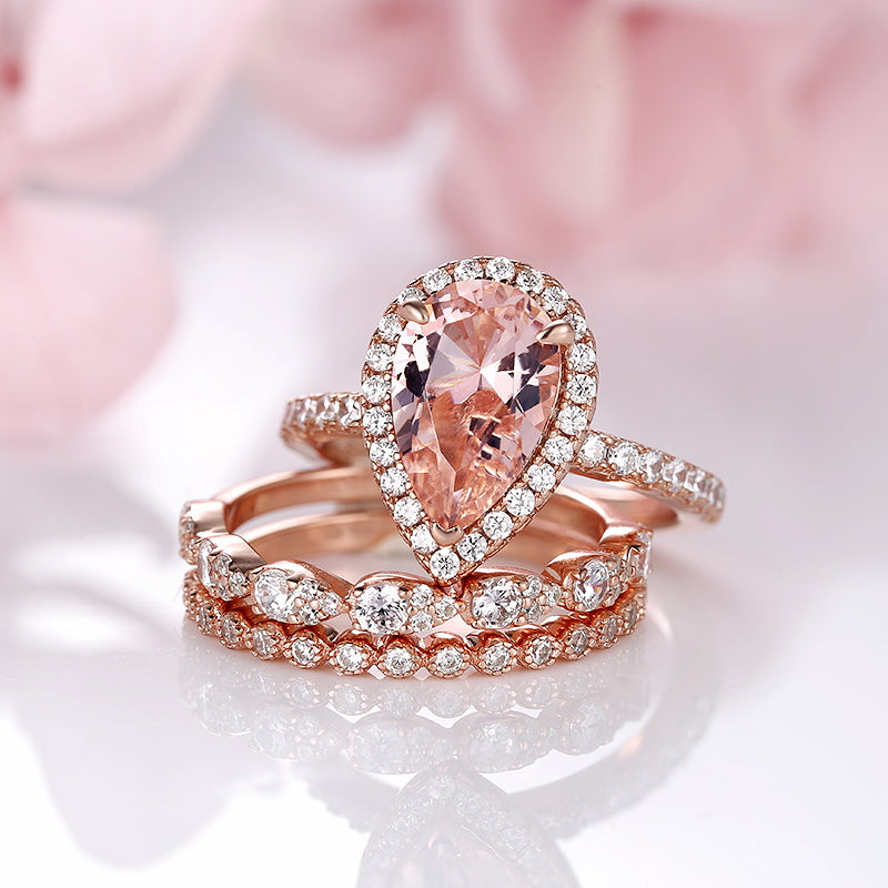 Louilyjewelry Rose Gold Synthetic Morganite Pear Cut Wedding Set