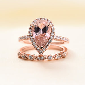Louily Rose Gold Halo Pear Cut Synthetic Morganite Wedding Ring Set