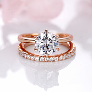 Louily Sterling Silver Rose Gold Round Cut Wedding Ring Set