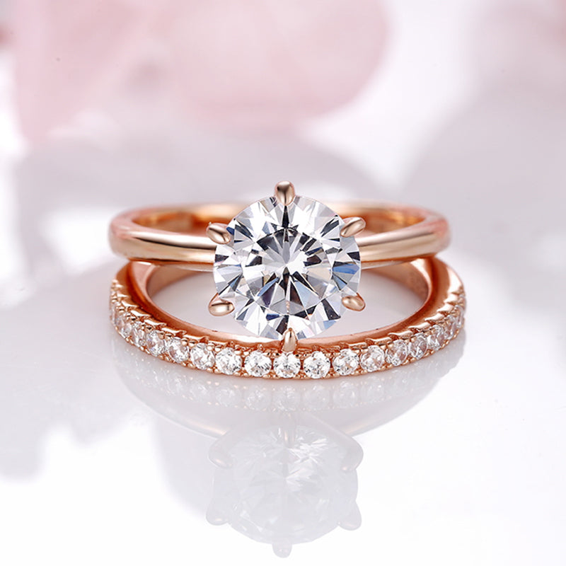 Louily Rose Gold Round Cut Wedding Ring Set In Sterling Silver