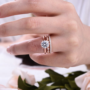 Louily Exquisite Brilliant Cut Wedding Ring Set In Sterling Silver