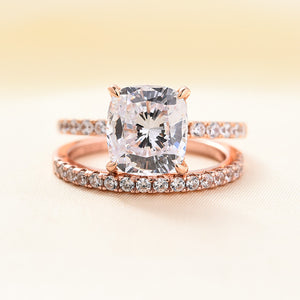 Louily Rose Gold Cushion Cut White Sapphire Wedding Ring Set In Sterling Silver