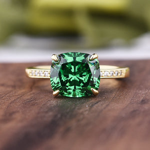 Louily 3.0 Carat Emerald Green Cushion Cut Engagement Ring In Sterling Silver