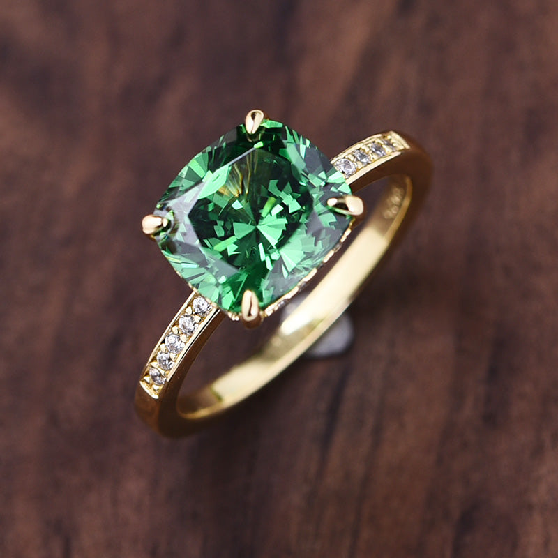 Louily Luxurious Emerald Green Cushion Cut Wedding Ring Set In Sterling Silver