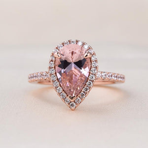 Louily Rose Gold Synthetic Morganite Pear Cut Wedding Ring Set In Sterling Silver