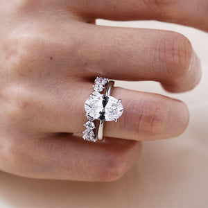 Louily Oval Cut Simulated Diamond Solitaire Wedding Set In Sterling Silver