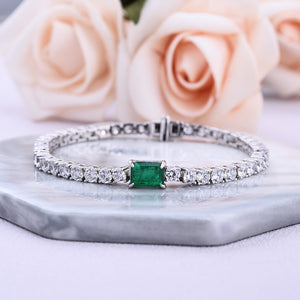 Louily Elegant Emerald Cut Bracelet for Women In Sterling Silver