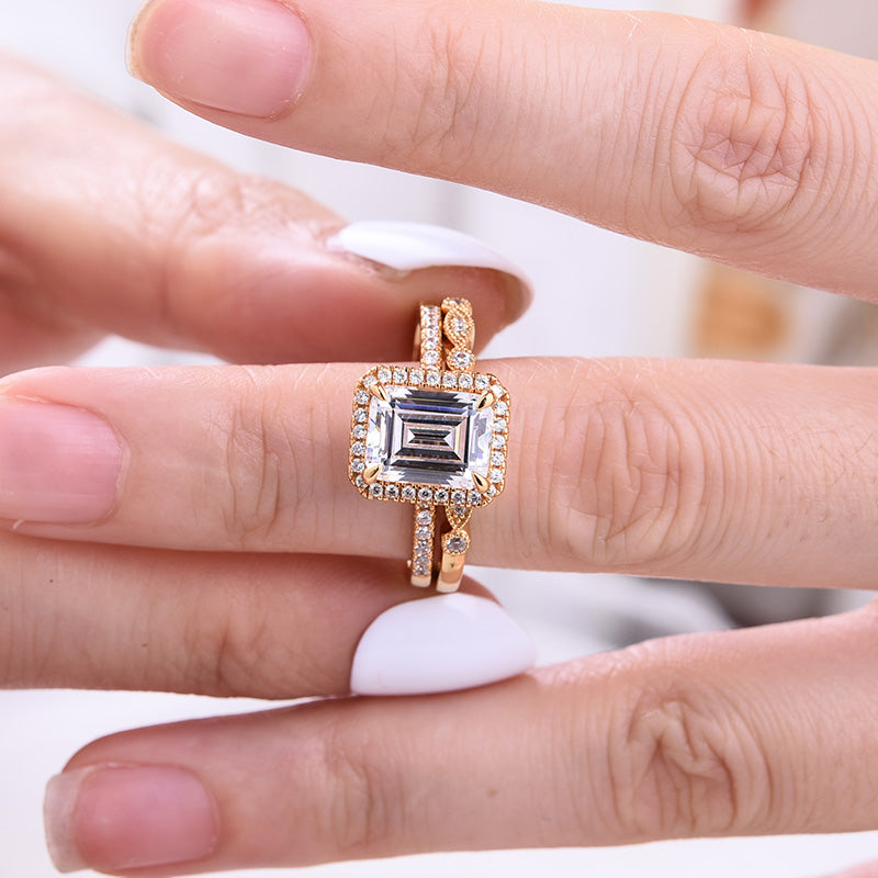 Louily Sterling Silver Yellow Gold Emerald Cut Wedding Ring Set