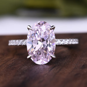 3.5 Carat Oval Cut Pink Stone Engagement Ring In Sterling Silver