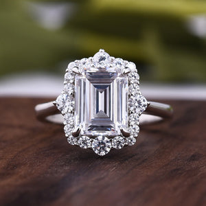 Louily 3.0 Carat Halo Emerald Cut Engagement Ring In Sterling Silver