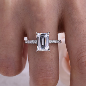 Louily Classic Emerald Cut Engagement Ring In Sterling Silver