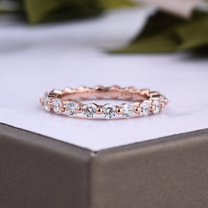 Louily Rose Gold Eternity Round Cut Wedding Band In Sterling Silver