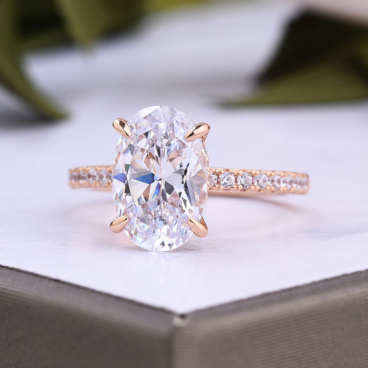 Louily Rose Gold Oval Cut White Stone Engagement Ring