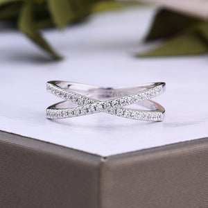 Louily Sterling Silver X Criss Cross Wedding Band For Women