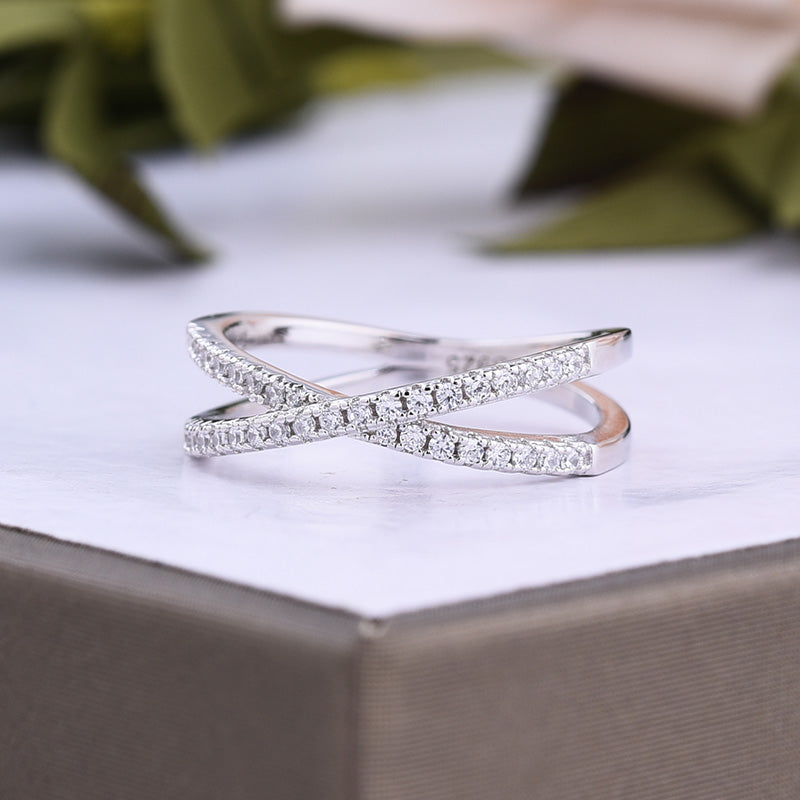 Louily X Criss Cross Wedding Band For Women In Sterling Silver