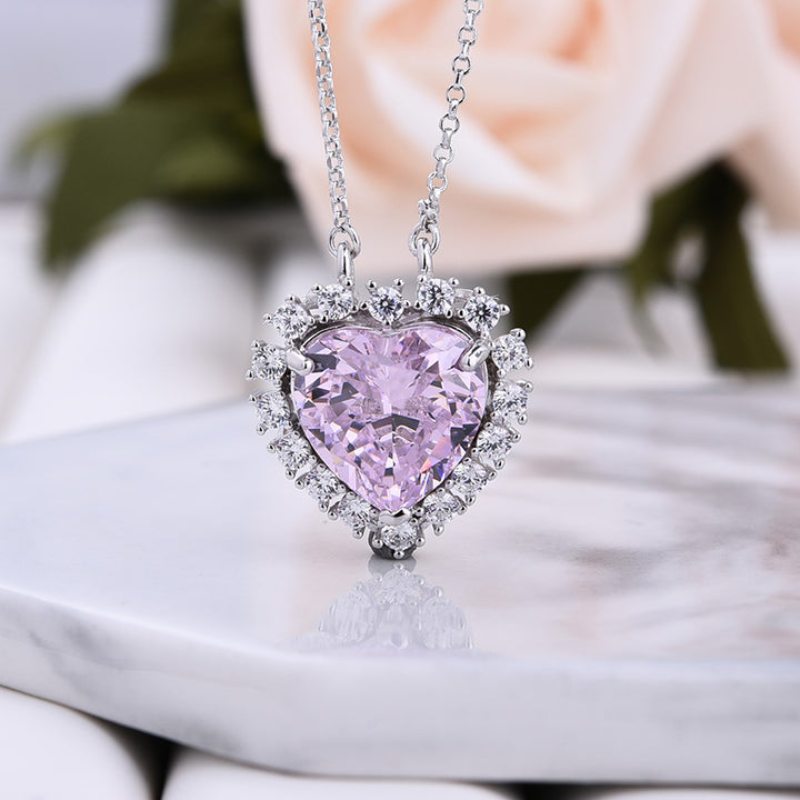 Louily Halo Heart Cut Pink Sapphire Necklace In Sterling Silver