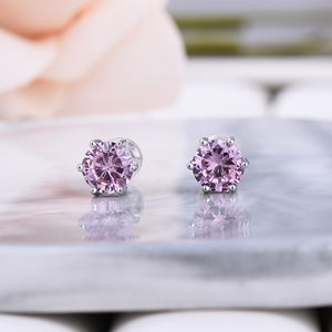 2.0 Carat Round Cut Pink Sapphire Stud Earrings In Sterling Silver