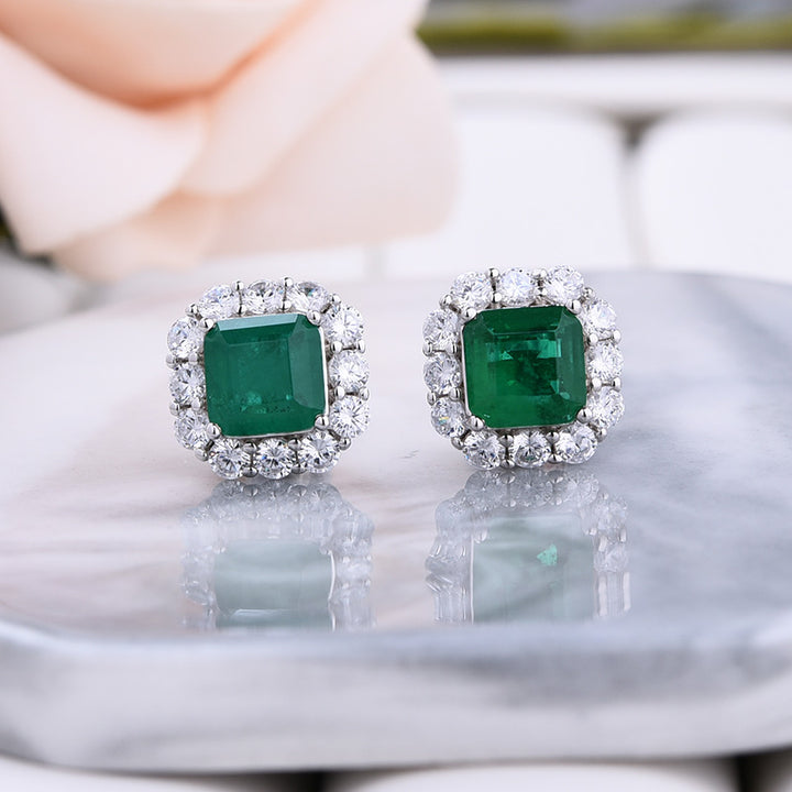 Louily Princess Cut Emerald Green Diamond Stud Earring In Sterling Silver
