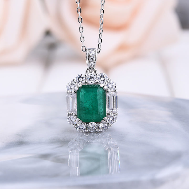 3.0 Carat Halo Emerald Sparkle Pendant with Necklace In Sterling Silver