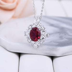 2.5 Carat Halo Ruby Oval Cut Pendant with Necklace In Sterling Silver