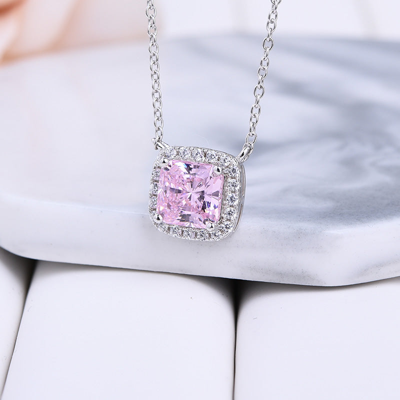 1.5 Carat Cushion Cut Pink Halo Pendant with Necklace In Sterling Silver