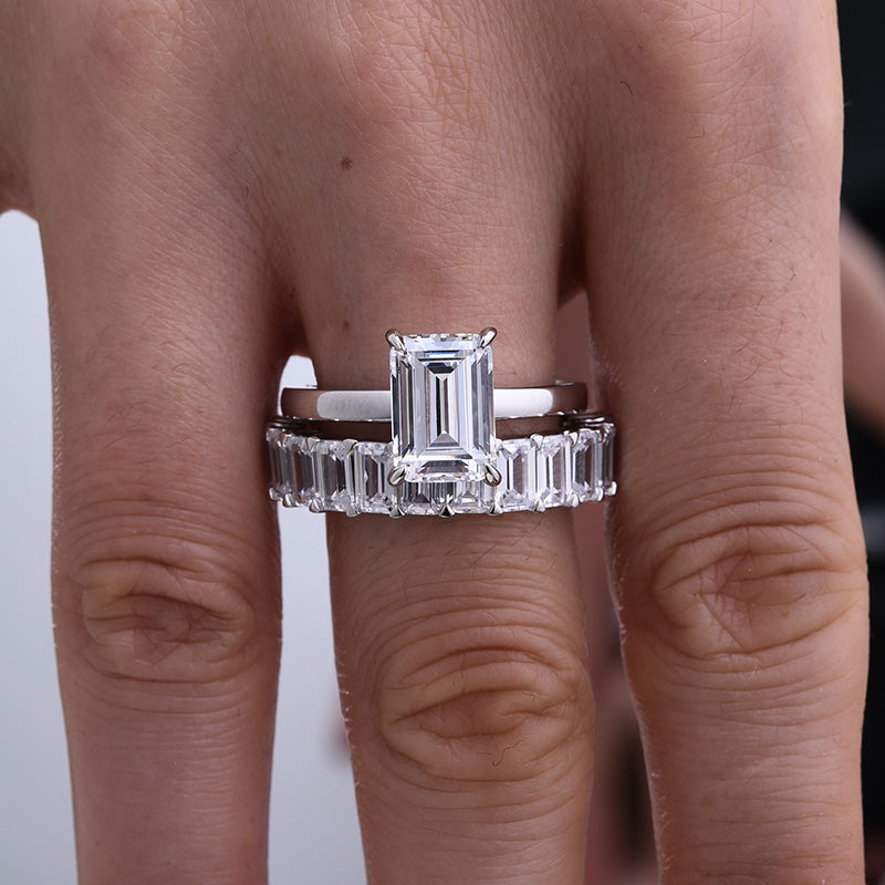 Louily Sterling Silver Emerald Cut Wedding Ring Set