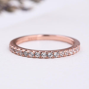 Louily Classic Rose Gold Half Eternity Thin Women's Wedding Band