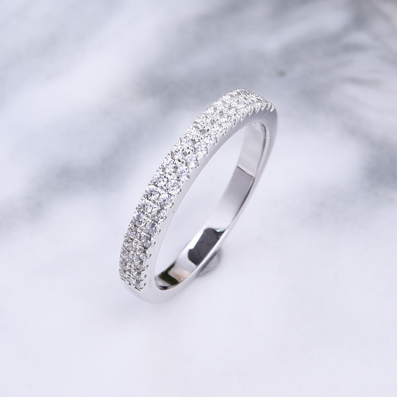Louily White Gold Double Halo Round Cut Women's Wedding Band In Sterling Silver