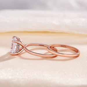 Louily Classic Oval Cut Emerald Green Simulated Diamond Engagement Ring In Sterling Silver