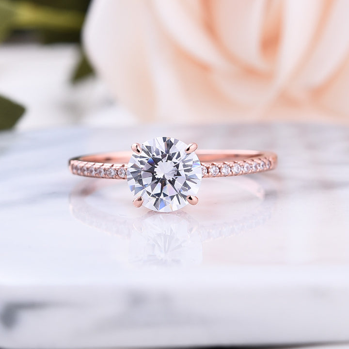 Louily Rose Gold Classic Round Cut Engagement Ring