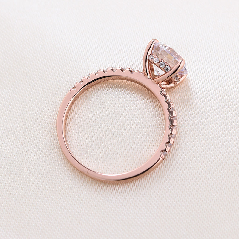 Louily Rose Gold Classic Round Cut Engagement Ring In Sterling Silver