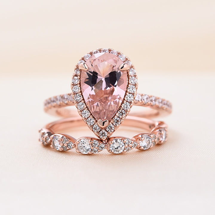 Louily Rose Gold Halo Pear Cut Synthetic Morganite Wedding Set
