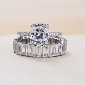 Louily Sterling Silver Cushion Cut Wedding Ring Set