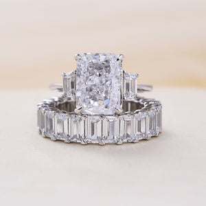 Louily Eternity Radiant Cut Sona Simulated Diamond Three Stone Wedding Set In Sterling Silver
