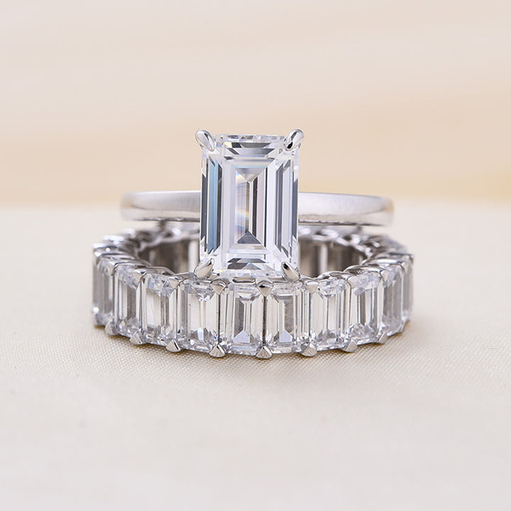 Louily Emerald Cut Wedding Ring Set In Sterling Silver
