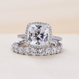Louily Amazing 3.2 Carat Cushion Cut Halo Wedding Set In Sterling Silver