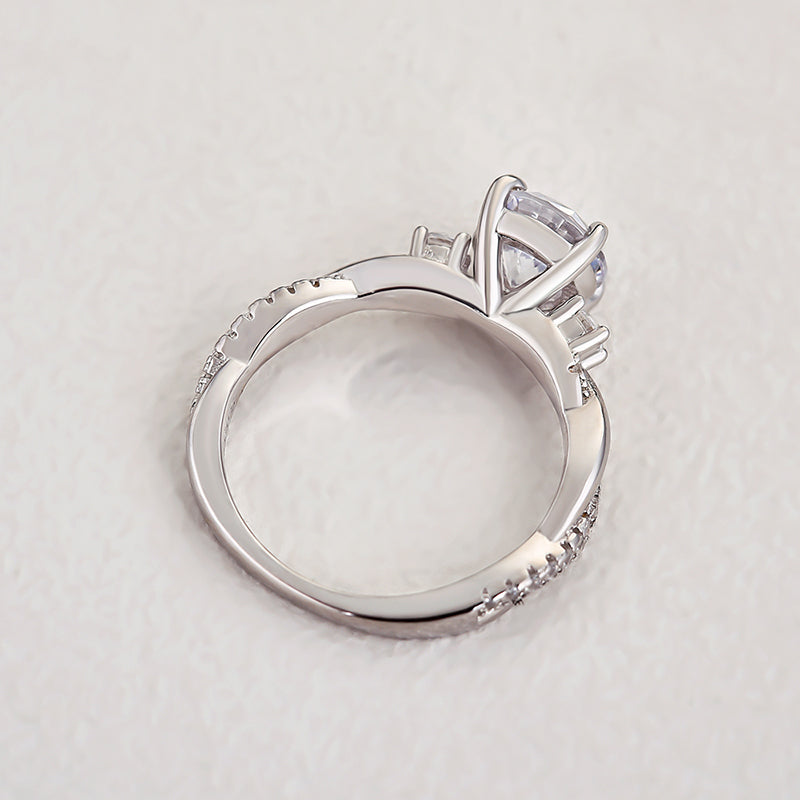 Louily Stunning Radiant Cut Wedding Ring Set In Sterling Silver