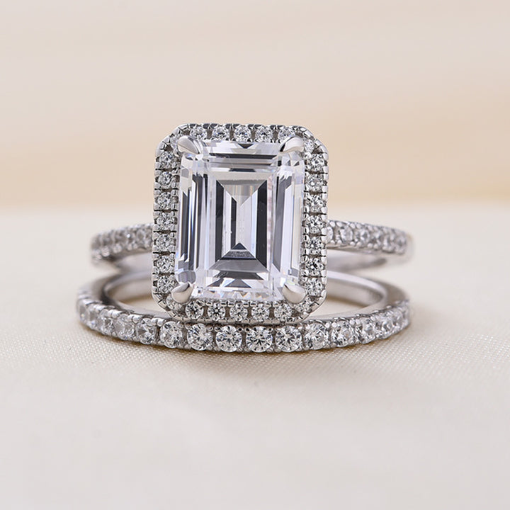 Louily Halo Emerald Cut Wedding Ring Set In Sterling Silver