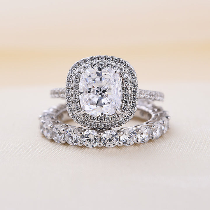 Louily Sterling Silver Double Halo Cushion Cut Wedding Ring Set