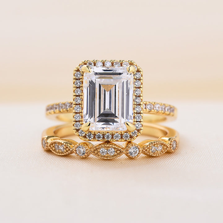 Louily Yellow Gold Emerald Cut Wedding Ring Set In Sterling Silver