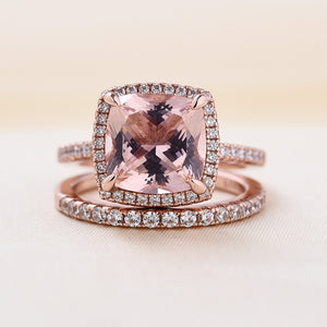 Louily Halo Cushion Cut Synthetic Morganite Wedding Ring Set In Sterling Silver