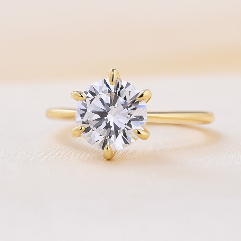 Louily Yellow Gold Classic Round Cut Solitaire Engagement Ring