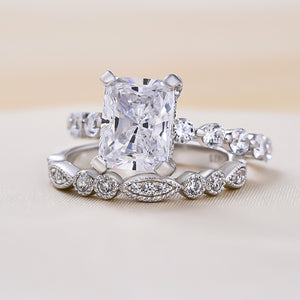 Louily Sterling Silver Vintage Art Deco Radiant Cut Wedding Ring Set
