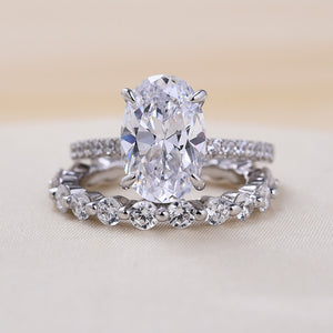 Louily Sona Simulated Diamond Oval Cut Wedding Ring Set In Sterling Silver
