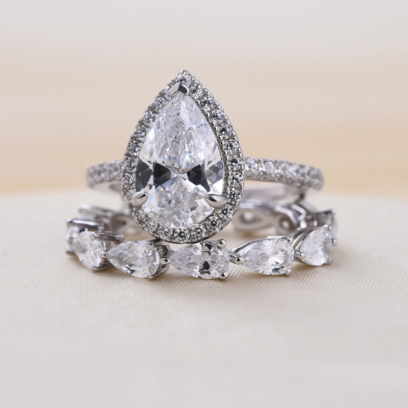 Louily Halo Pear Cut Wedding Ring Set In Sterling Silver