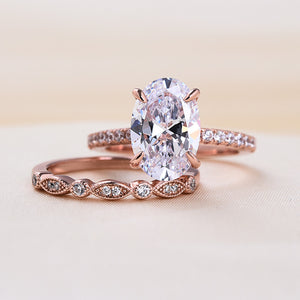 Louily Rose Gold Oval Cut Wedding Ring Set In Sterling Silver