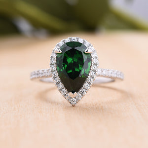 2.2 Carat Emerald Green Sapphire Halo Pear Cut Engagement Ring In Sterling Silver