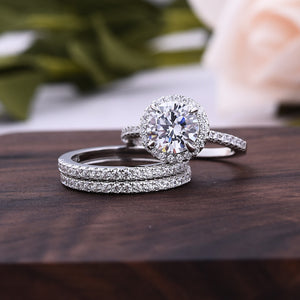 Louily Classic Round Cut Halo 3-Pieces Wedding Set In Sterling Silver