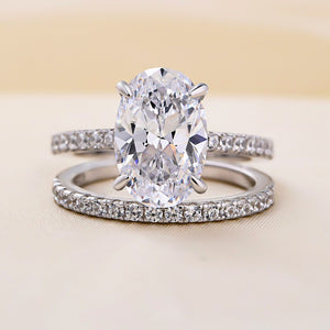 Louily Classic 3.5 Carat Oval Cut Wedding Ring Set In Sterling Silver