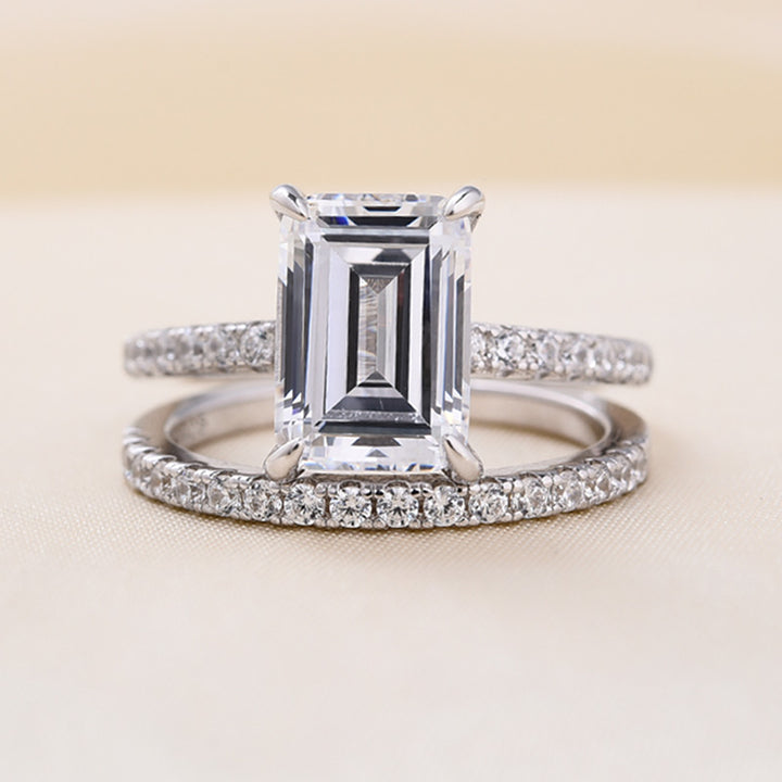 Louily Classic Emerald Cut Wedding Ring Set In Sterling Silver